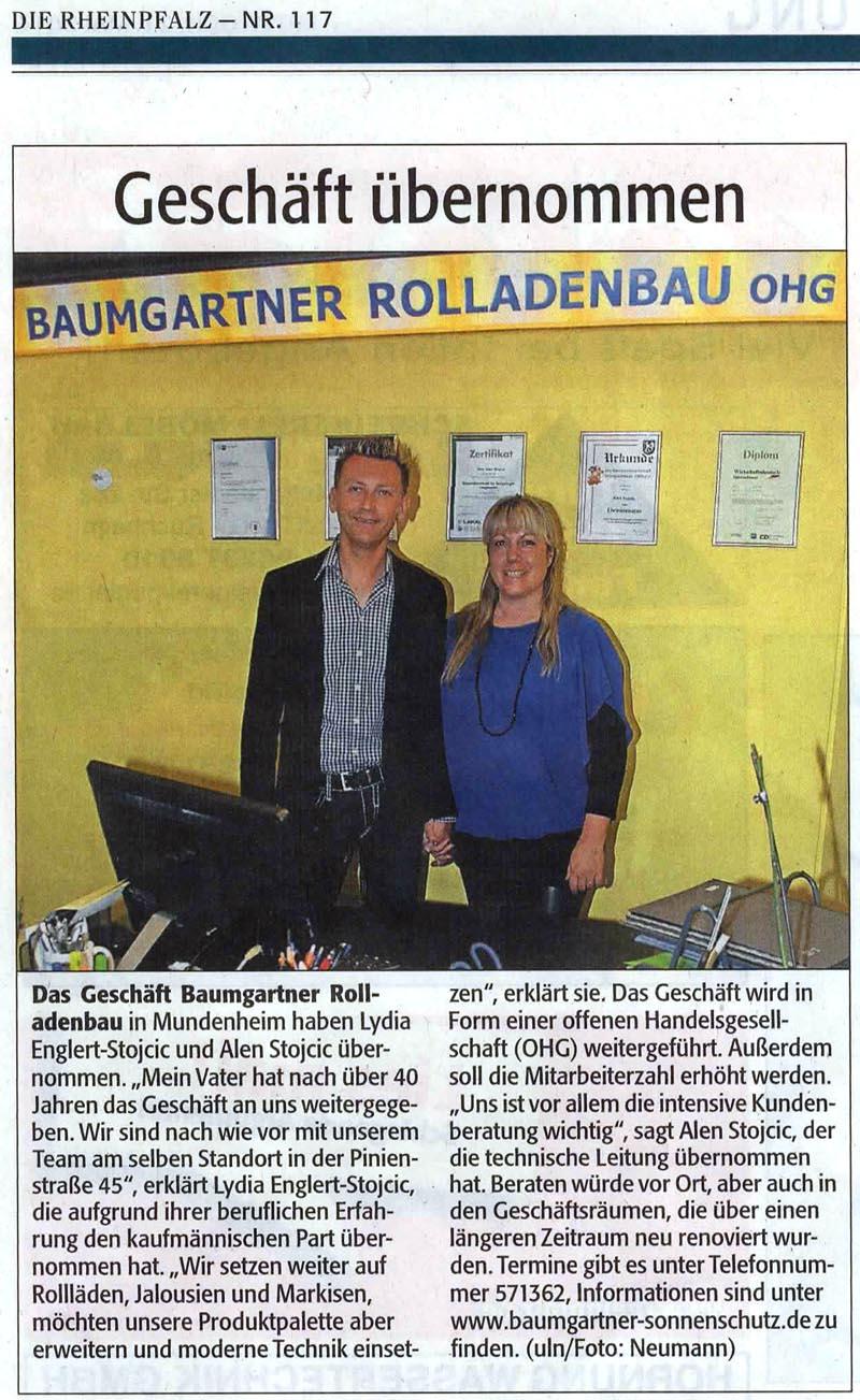 Zeitungsartikel Rheinpfalz